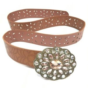 Gemstone Belt Faux Leather Brown Size Adjustable